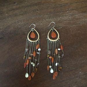 Coral Tear Drop Dangly Earrings